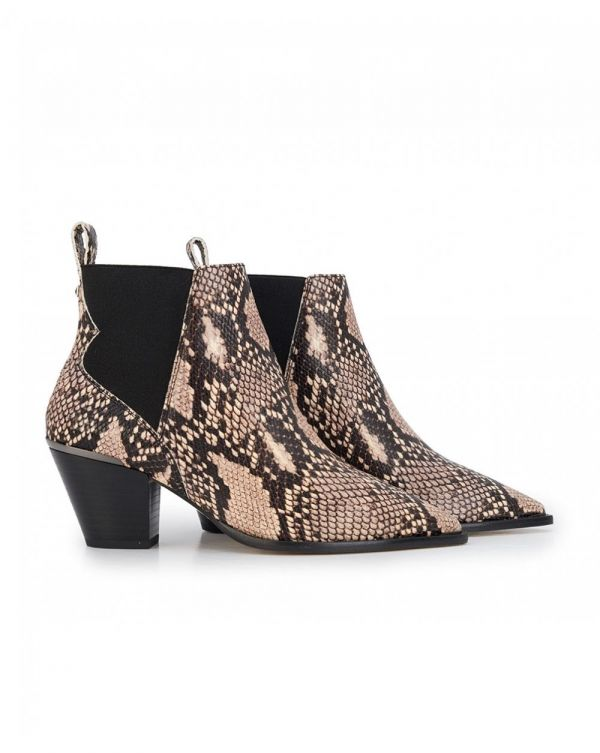 Rilans Snake Print Pointed Ankle Boots