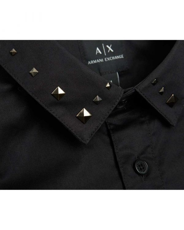 Stud Collar Regular Fit Poplin Shirt