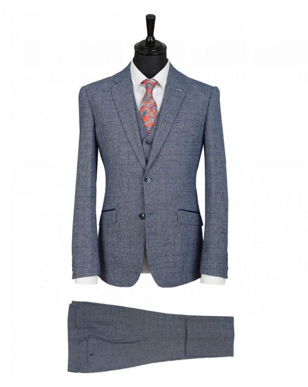Three Piece Prince Of Wales Checked Suit