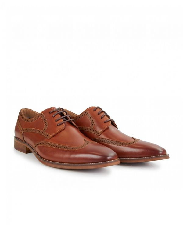Carnell Lace Brogue Derby Shoe Leather Tan