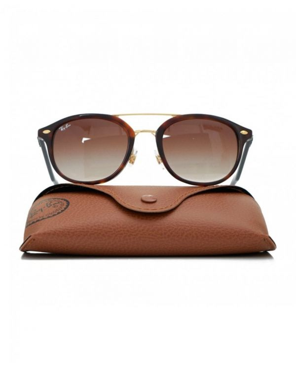 Round Gold Double Bridge Sunglasses