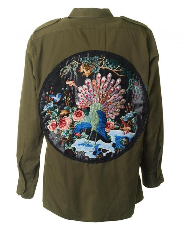 Embroidered Panel Shirt Jacket
