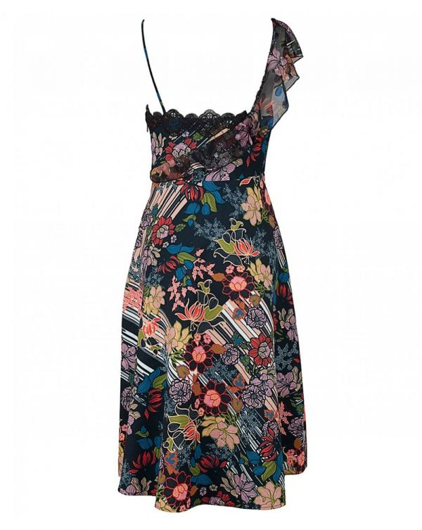 Retro Flower Asymetrical Dress