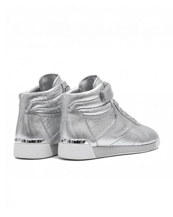 Addie Metallic Leather High Top Trainers