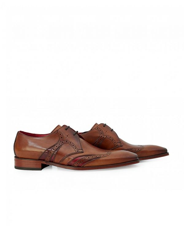 Scarface Leather Stripe Detail Brogues