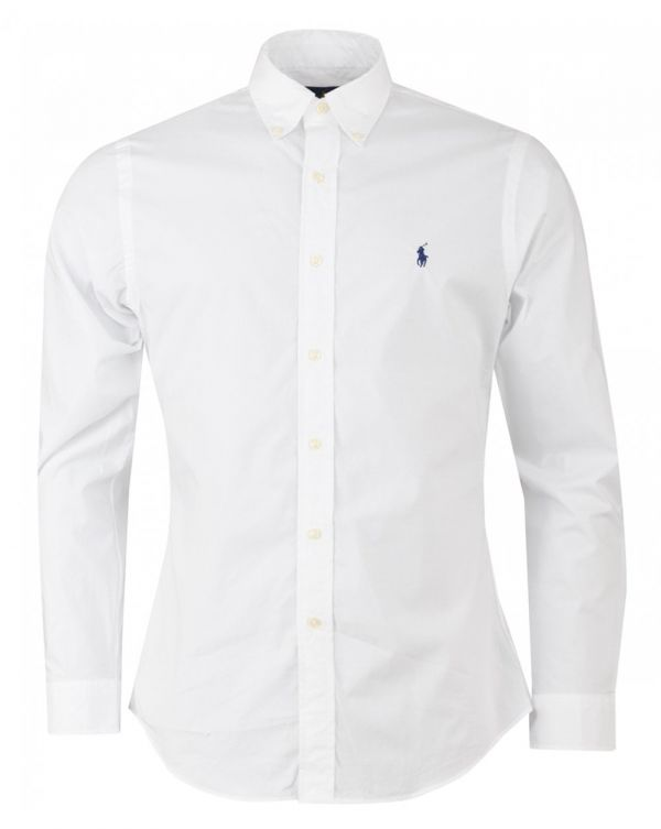 Slim Long Sleeved Cotton Poplin Shirt