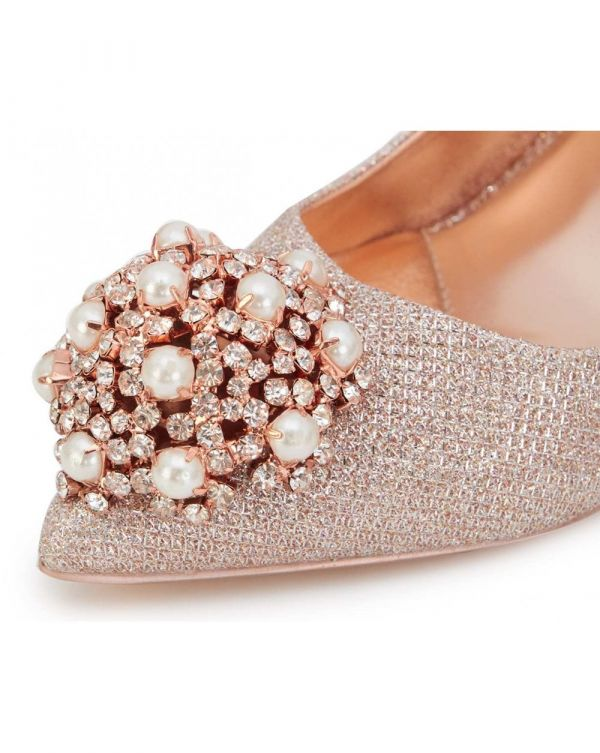 Metallic Brooch Front Court Shoes