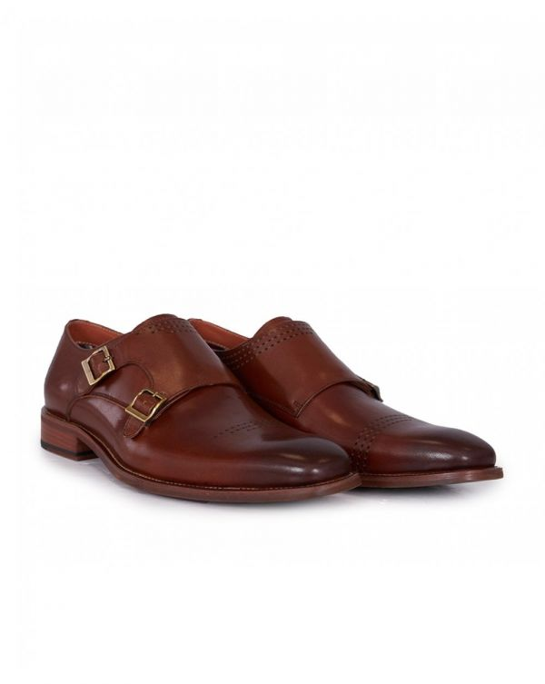 Punch Leather Double Monk Shoes