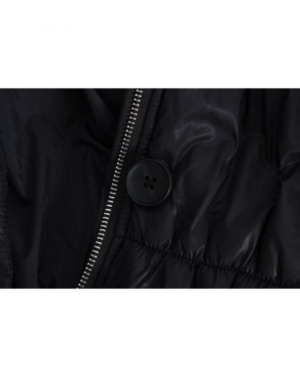 Striped Cuff Nylon Puffa Coat