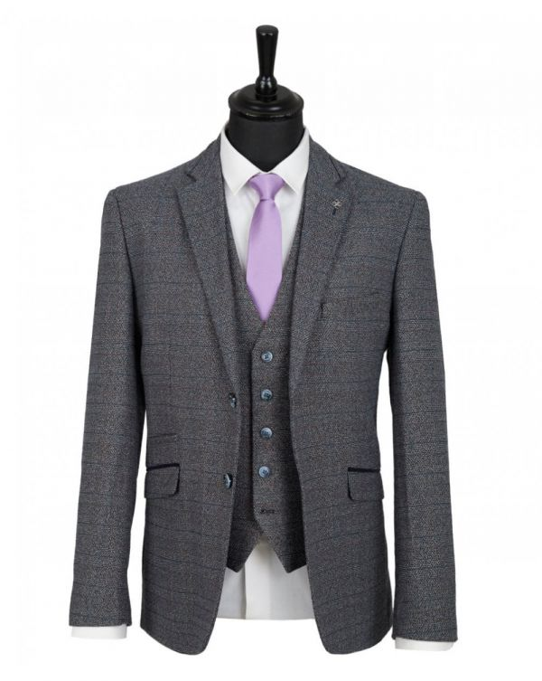 Three Piece Tweed Checked Suit