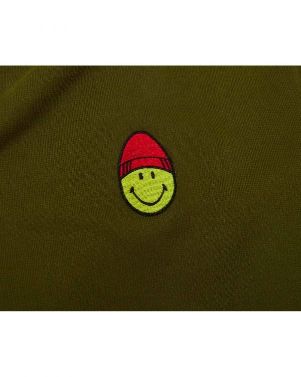 Patch Smiley Pop Over Hooded Sweat