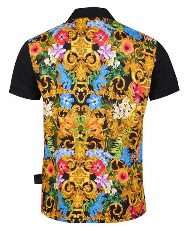 Reg Fit Back Floral Print Polo Shirt