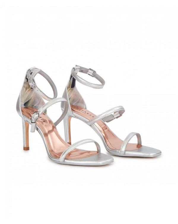Metallic Triple Strap Sandals