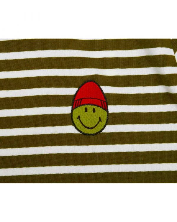 Striped Smiley Patch T-shirt
