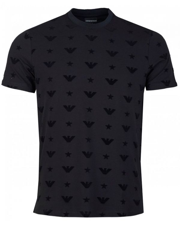 All Over Flocked Eagle Crew Neck T-shirt