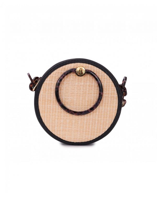 Resin Handle Straw Circle Bag