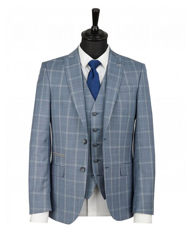 Slim Fit Large Checked Waistcoat
