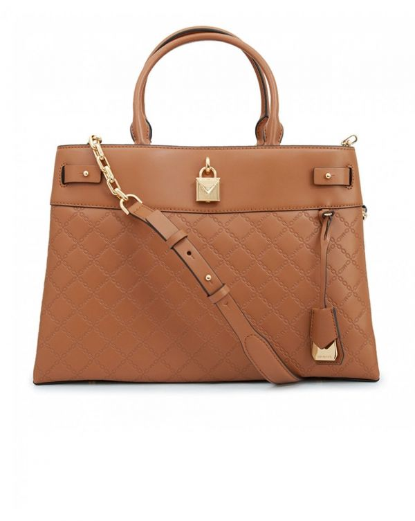 Gramercy Embossed Leather Top Handle Bag