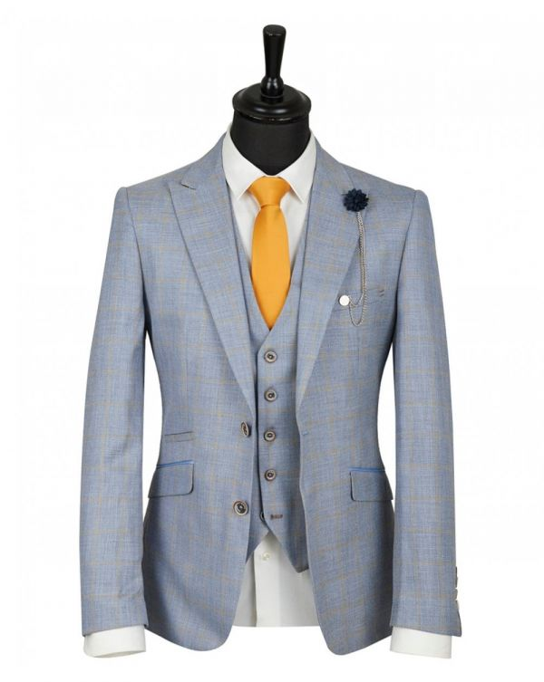 Three Piece Windowpane Check Suit