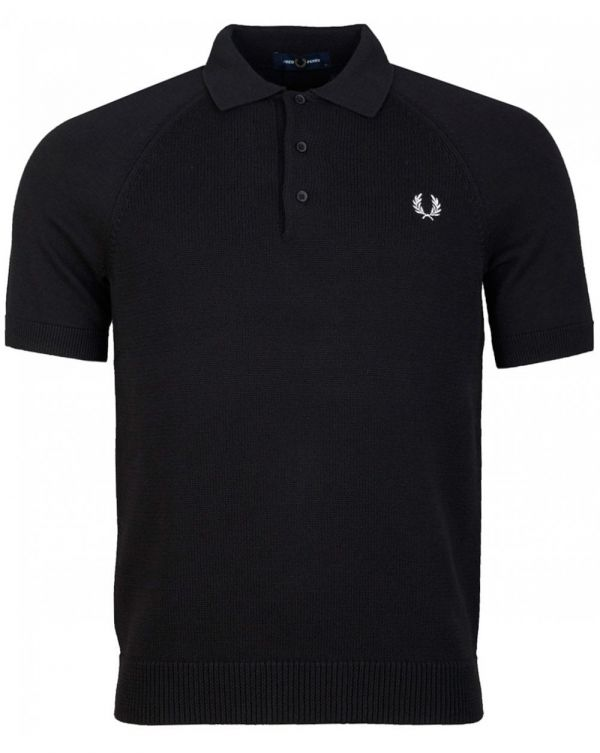 Contrast Texture Knitted Polo Shirt