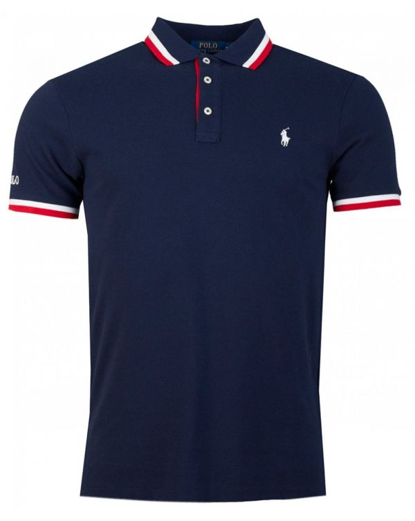 Tipped Collar Mesh Polo Shirt
