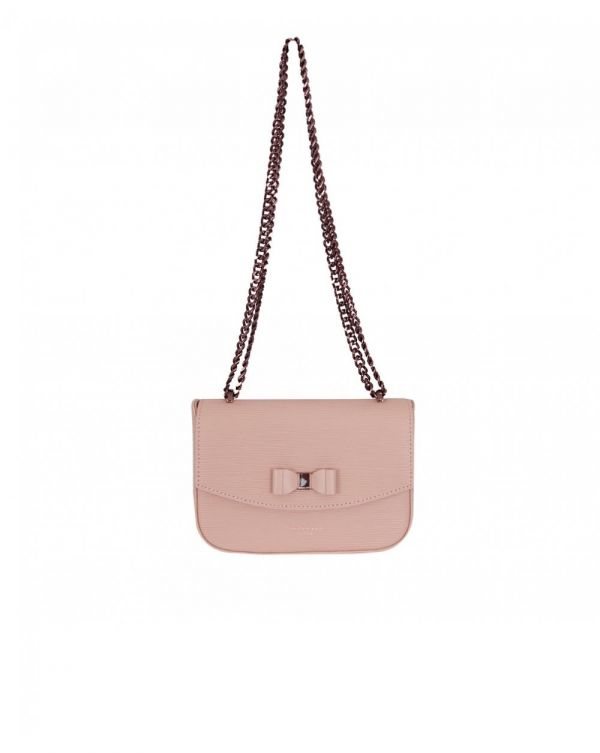 Textured Leather Small Bow Crossbody Bag