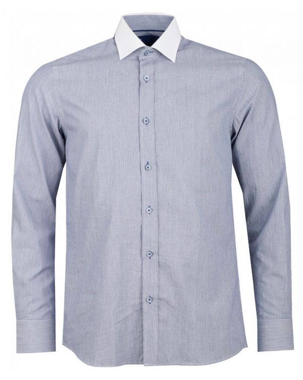 White Collar Feather Striped Shirt