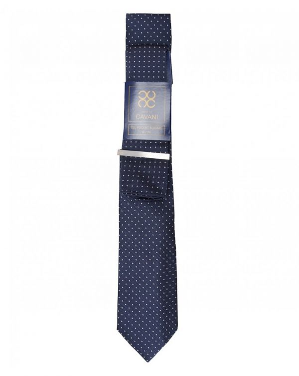 Spotted Tie Hankie And Tie Bar Set