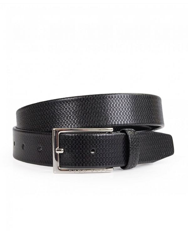 Cedys Embossed Logo Leather Belt