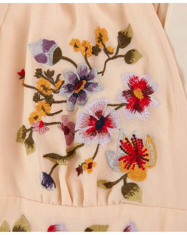 Embroidered Button Detail Dress
