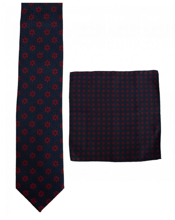 Small Floral Print Tie And Handkerchief Set