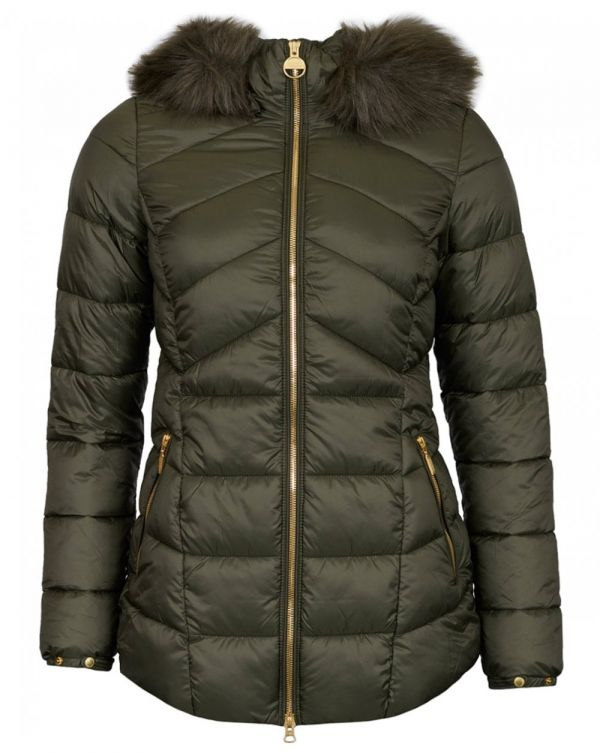 Hampton Fur Trim Hooded Quilted Jacket