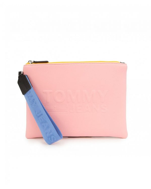 Textured Logo Pouch Bag