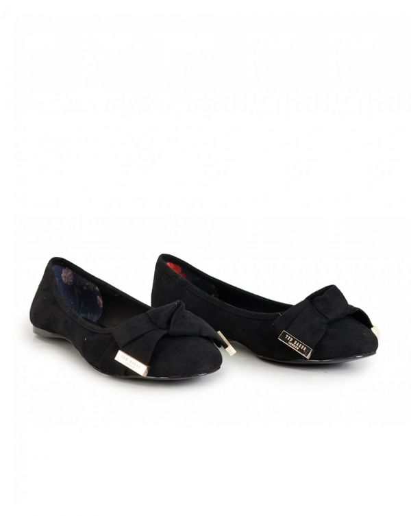 Antheia Bow Suede Ballet Pumps