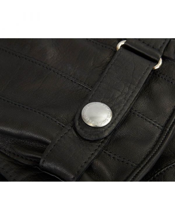 Ribbed Button Detail Leather Gloves