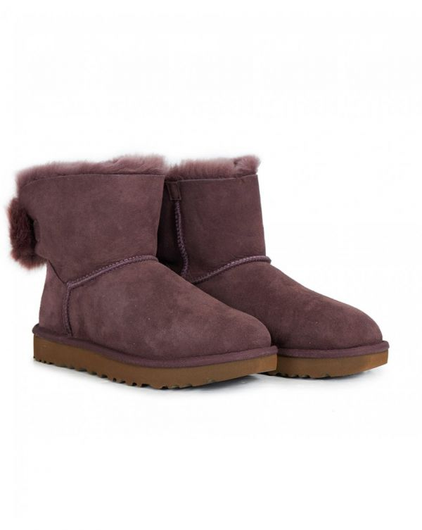 Mini Puff Crystal Bow Shearling Boots