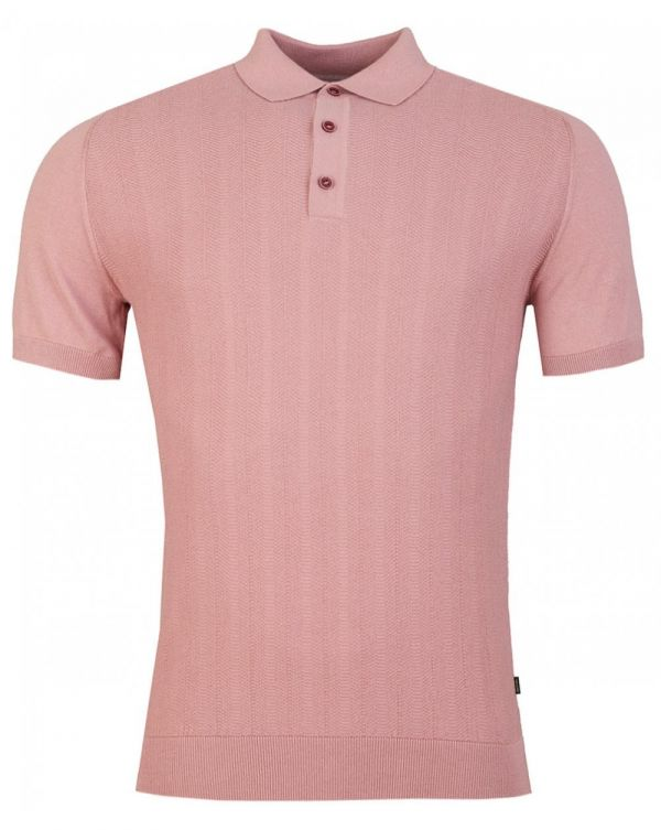 Jacquard Front Knitted Polo Shirt