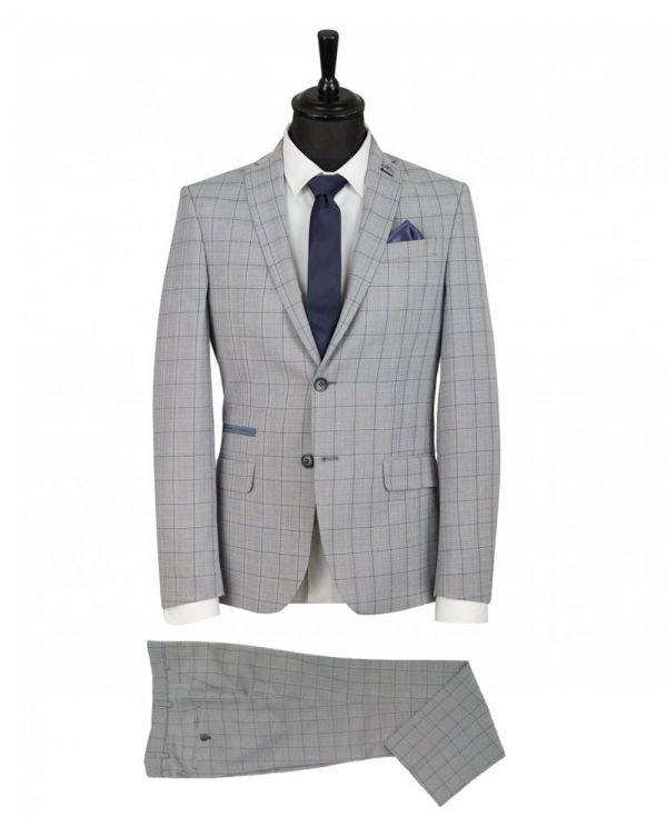 Slim Fit Windowpane Check Suit