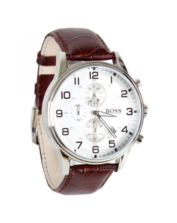 Double Dial White Face Croc Strap Watch
