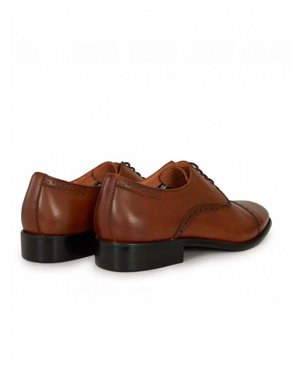 Toe Cap Leather Punch Detail Shoes