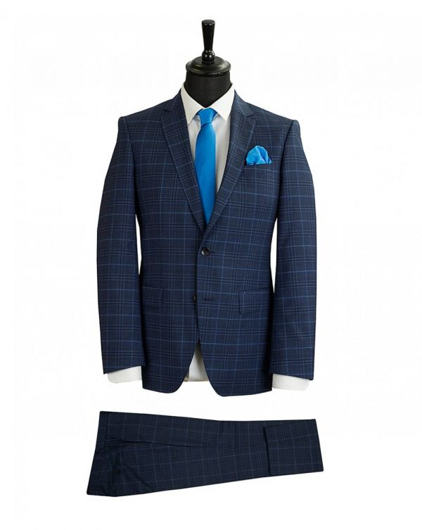 Hugo Slim Fit Checked Suit