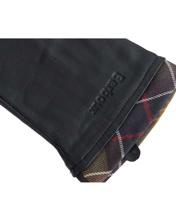 Tartan Trim Leather Gloves
