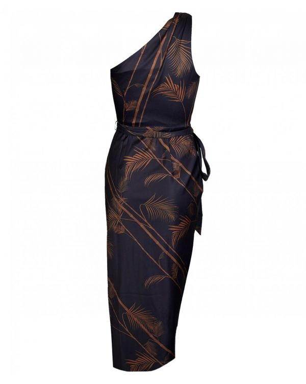 Caramel Print One Shoulder Wrap Dress