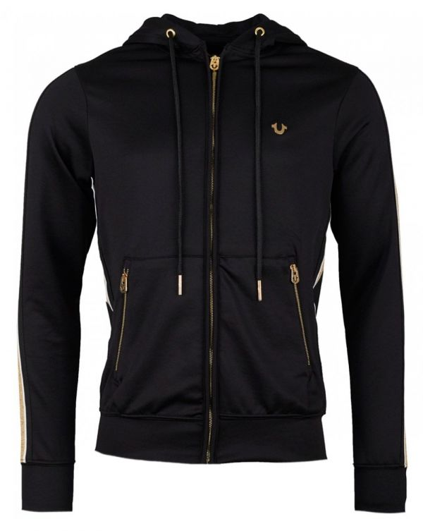 Metallic Logo Poly Zip Through Hoody