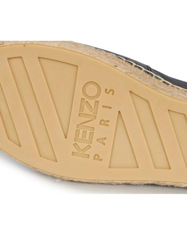 Embossed Logo Leather Espadrilles