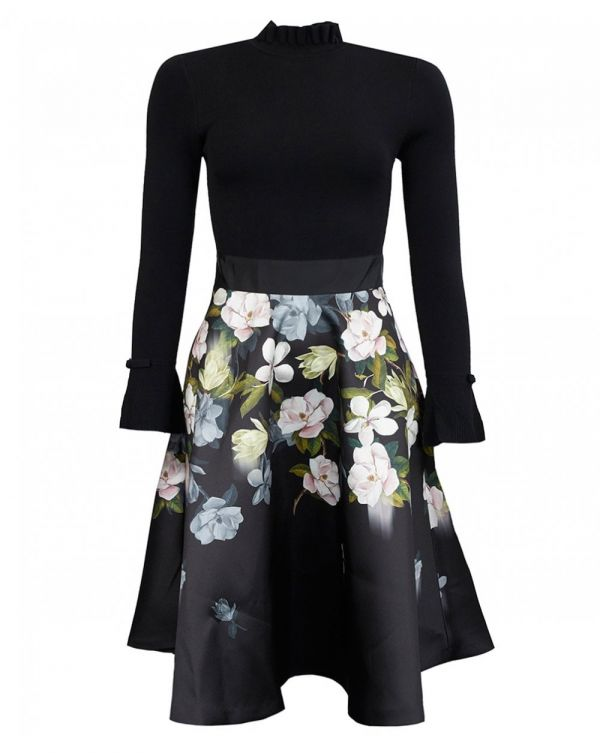 Knitted Top Floral Skirt Dress
