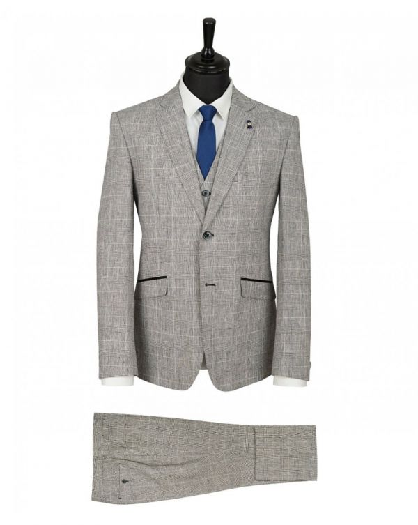 Three Piece Checked Linen Suit