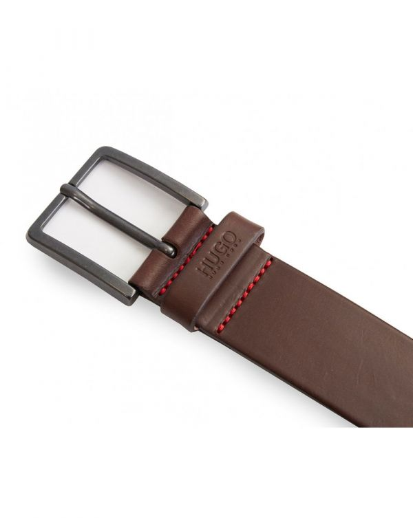 Jionio Leather Embossed Logo Belt