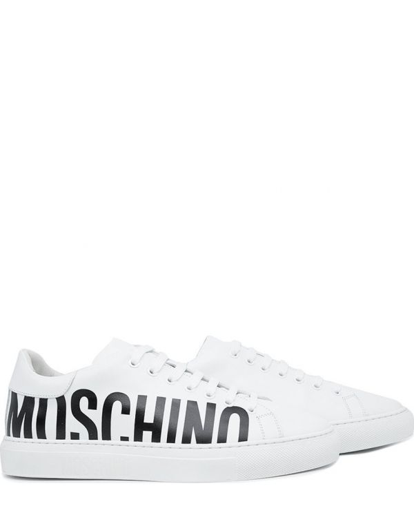 Side Logo Leather Sneakers