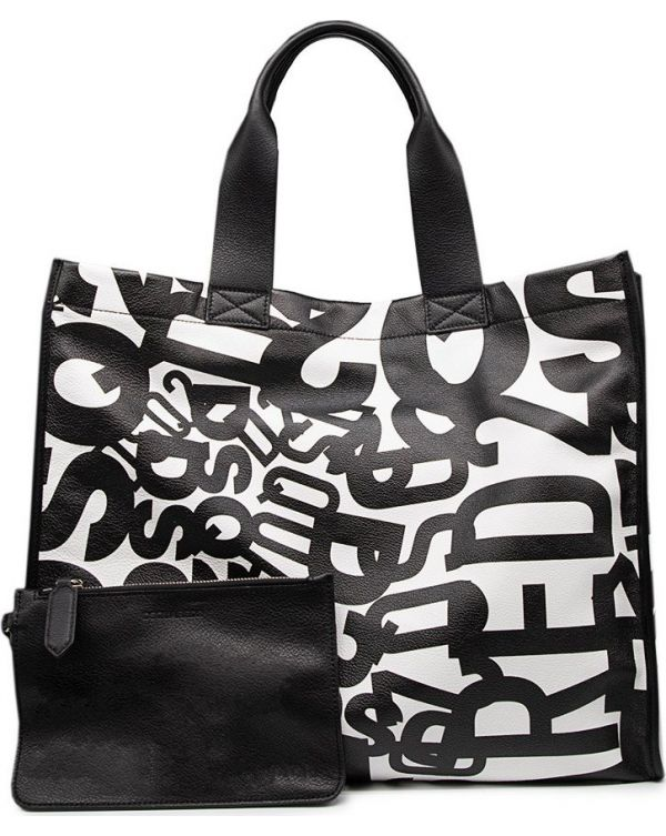 Multi Logo Print Shopper